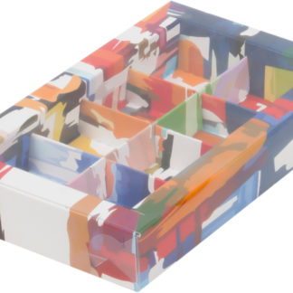 Коробка для конфет на 8шт с печатью темная акварель, 190х110х30
