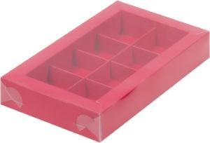 Коробка для конфет на 8шт с пластиковой прозрачной крышкой КРАСНАЯ, 190х110х30
