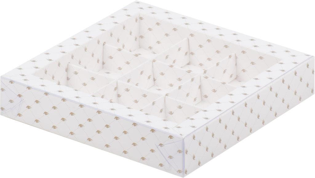 Коробка для конфет на 9шт с печатью в виде узора, 155х155х30