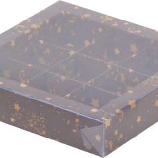 Коробка для конфет на 9шт с печатью звезды, 155х155х30