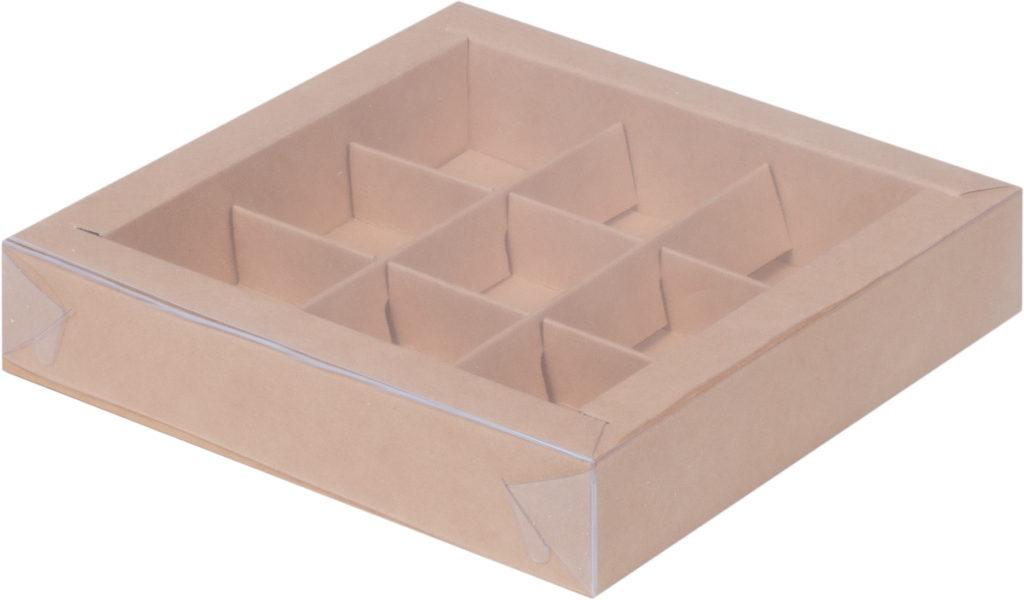 Коробка для конфет на 9шт с крышкой КРАФТ, 155х155х30