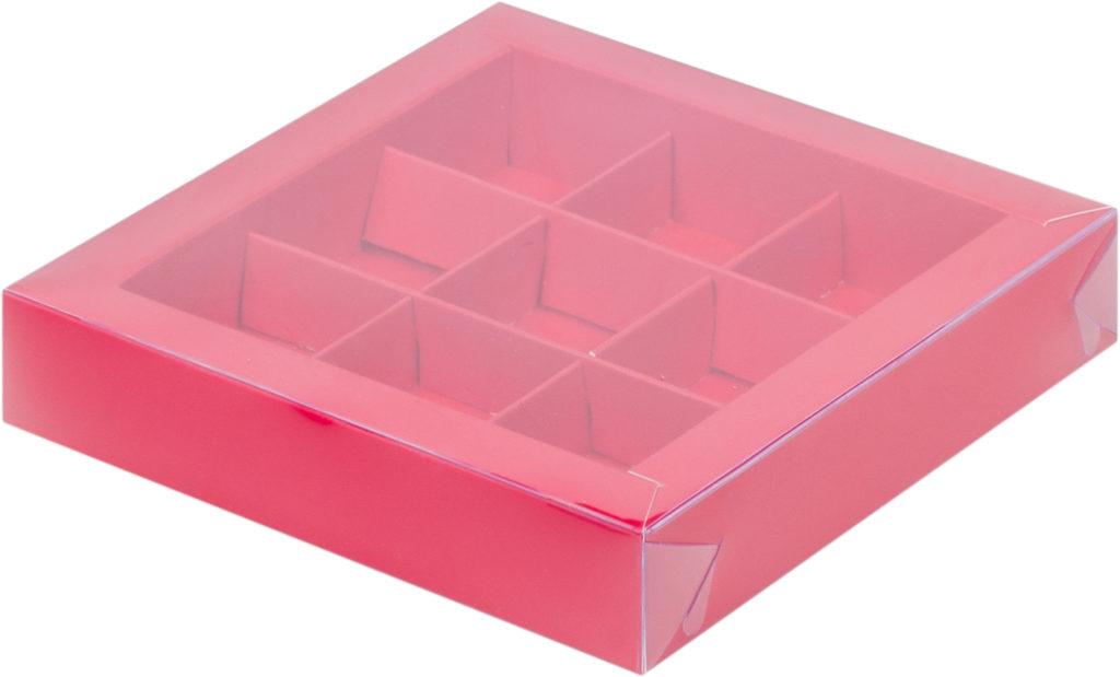 Коробка для конфет на 9шт с крышкой КРАСНАЯ, 155х155х30
