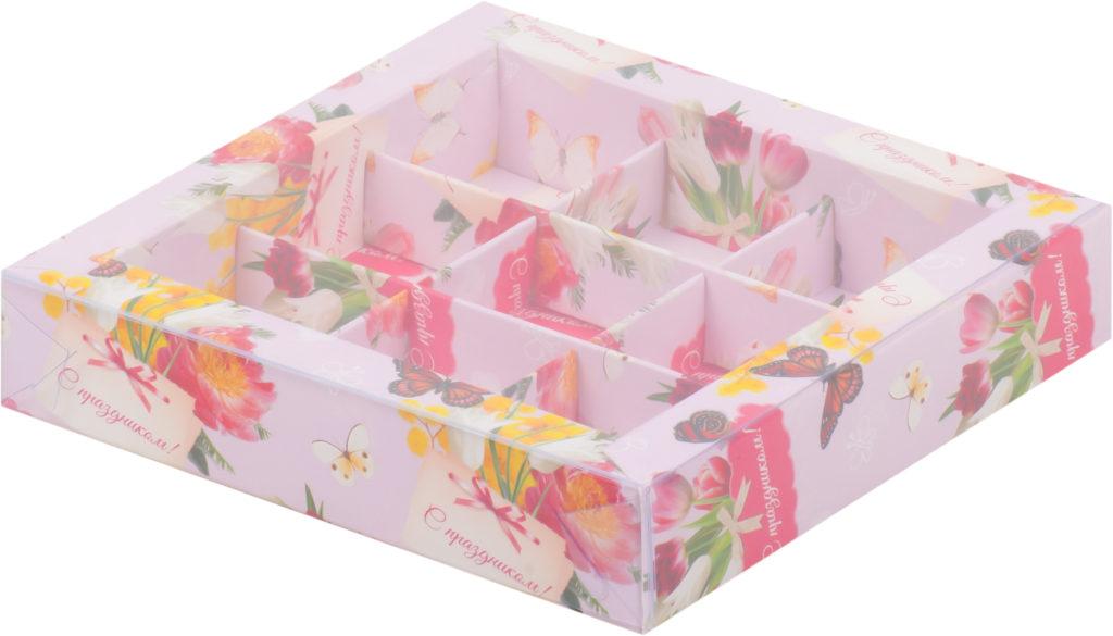 Коробка для конфет на 9шт с печатью праздник, 155х155х30