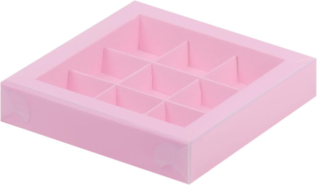Коробка для конфет на 9шт с крышкой РОЗОВАЯ, 155х155х30