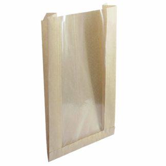 Пакет бумажный с плоским дном с окном крафт, 175*(70)*90*320 40г/м2